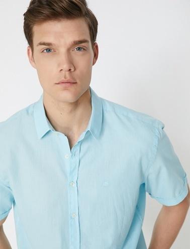 Koton Kisa Kollu Gömlek Mavi